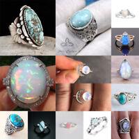 Retro 925 Silver Ring Men Women Moonstone Turquoise Fire Opal Wedding Size 6-10