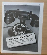 1937 magazine ad for Bell Telephone - black dial phone, Symbol of Service