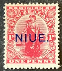 Niue. NZ OPTD 1d Definitive Stamp. SG21. 1917. Unused Mounted. #AF74
