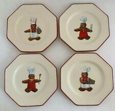 Williams Sonoma Gingerbread Chef Set Of 4 Dessert Plates Earthenware