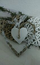 Herz Holz weiss Spitzeborde Türhänger Fensterschmuck Shabby Chic Landhausstil