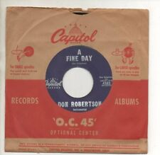 DON ROBERTSON 45 RPM Record THE MERRY MEN / A FINE DAY Excellent! October 1959