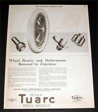 1921 OLD MAGAZINE PRINT AD, GIER TUARC STEEL CAR WHEELS, FOR DISTINCTIVE BEAUTY!