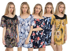 Womens Plus Size Short Sleeves Scoop Neckline Floral Print Smock Tunic Top 16-28