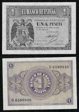 ESPAÑA año 1938. 1 peseta ABRIL serie G nº 6590946. Escudo Franco. SC. PLANCHA.