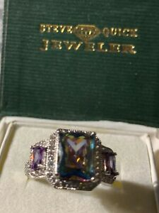 ESTATE Emerald Cut Alexandrite & Sapphire Cocktail Ring  Sz9