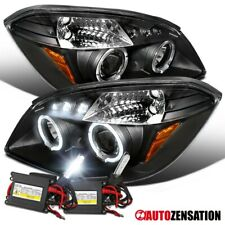 For 2005-2010 Cobalt Black LED Halo Projector Headlights Lamps+6000K HID Kit