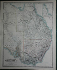 1887 LARGE VICTORIAN MAP ~ SOUTH AUSTRALIA ~ NEW SOUTH WALES VICTORIA QUEENSLAND