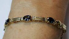 Estate 14k Yellow Gold Blue Sapphires Diamonds Tennis Bracelet 11 gram Excellent