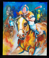 "MARCIA BALDWIN ~ 08 ORIGINAL PAINTING ~ "" RACING DAY "" BRILLIANT IN EVERY DETAIL"