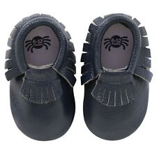 Itzy Ritzy Moc Happens Leather Baby Moccasins- Blueberry - 0-6 months