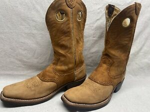 Ariat Men's 10.5 B Tan Ruff Up Leather Square Toe Pull Holes Western Riding Boot