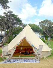 4M Outdoor Canvas Bell Tent Awning Glamping Camping Tent Family Yurt Stove Jack