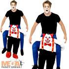 Adult Sinister Clown Costume Men Ladies Piggy Back Fancy Dress Novelty Halloween
