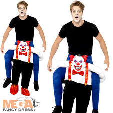 Sinister Clown Piggy Back Ride On Adult Halloween Fancy Dress Circus Costume New
