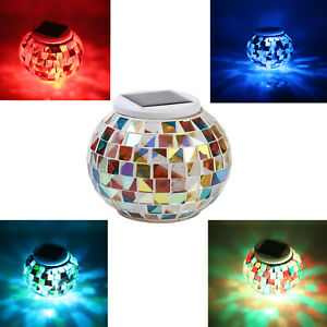 LED Mosaic Glass Garden Ball Light Outdoor Color Changing Solar Power Lawn Lamp