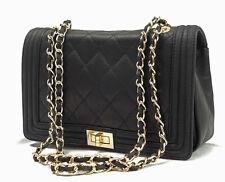 Ital Handtasche Schultertasche Abendtasche Leder gesteppt schwarz Tasche BOY