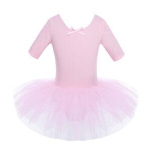 Mädchen Ballett Tanz Kleid Kurzer Ärmel Gymnastik Tutu Tanzkleid Kostüm