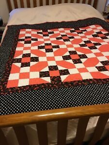 """Homemade Patchwork Orang & Black  9-Patch Quilt, 60"""" x 60"""" Machine Stitched"""