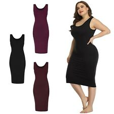 HDE Plus Size Bodycon Midi Dress Casual Fitted Jersey Tank Everyday Sundress