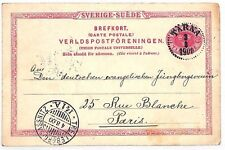 SWEDEN *Tarna* Dotted CDS Stationery Card RAILWAY France 1900{samwells}VV255