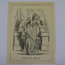 """7x10"""" punch cartoon 1866 JUSTICE FOR IRELAND"""