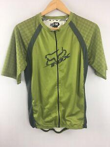 Fox Racing Cycling Jersey M Medium Green Pockets Biking Full Zip RR40