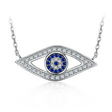 JewelryPalace 925 Sterling Silver Eyes Created Blue Spinel Pendant Necklace