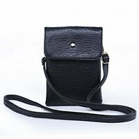 Hengying Leather Small Cross-body Shoulder Bag Phone Pouch Camera Bag with Black