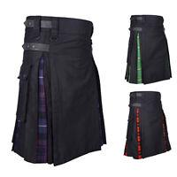 Medieval Patchwork Men Scottish Retro Tartan Kilt Pleated Skirt Cosplay Costume