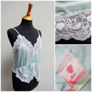 Vintage 1980s Camisole Blue Nylon Lace Trim Ladies Lingerie Negligee Ann Summers