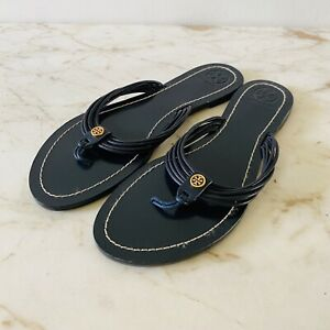 TORY BURCH Solid Blue Leather Thong Sandal - US 9