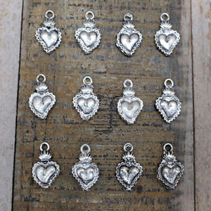 Mexican Milagros Charms - Sacred Hearts x 12