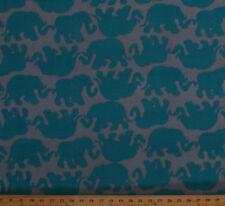 Fleece Elephants Animals Turquoise Gray Grey Fleece Fabric Print by Yard A340.09
