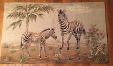 "Hooked Wool Area Rug Zebra Animals Trees Tan Browns 29.5"" x 49"" Beautiful"
