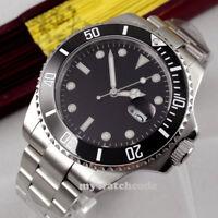 43mm bliger sterile black dial luminous sapphire glass automatic mens watch