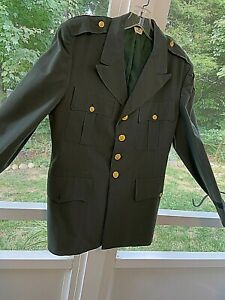 Vintage US Army Officers Class A Military Green Uniform Dress Jacket Coat Pol/Wo