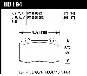 Hawk Performance HB194S.570 Designed For High Deceleration Rates Disc Brake Pads