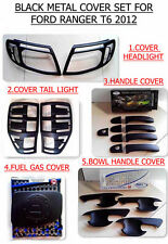 BLACK MATTE COVER SET HEADLIGHT TAIL LIGHT GAS DOOR HANDLE BOWL FORD RANGER 12