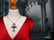 Men Ladies Crucifix Cross Necklace Pendant Gothic Egyptian Cross Swarovski Stone