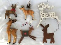 Assortment of 6 Wood and Metal Reindeer Christmas Ornaments