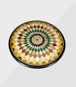 """36"""" Round green marble Table Top inlaid semi precious stones art work"""