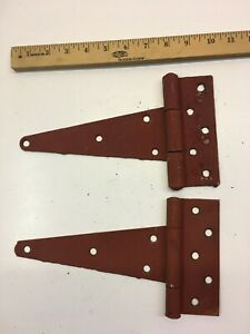 2 VINTAGE 10'' FARM BARN DOOR GATE HAND FORGED STRAP HINGES GREAT RED PATINA