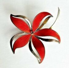 HROAR PRYDZ Enamel Sterling Silver Norway RED ENAMEL FLOWER Pin Brooch Vintage