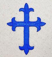 Fleur de lis Cross - Royal Blue - Religious Iron on Applique/Embroidered Patch