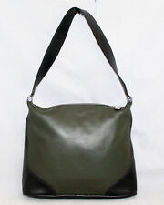 FURLA Green & Black Leather Hobo Shoulder Bag Zip Top