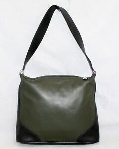FURLA Green & Black Leather Hobo Shoulder Bag Zip Top