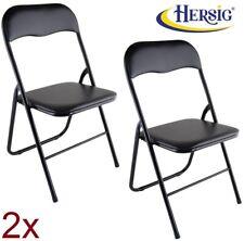 2x silla plegable negras metálicas y acolchadas antideslizante