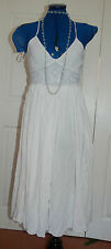 New Sz10 River Island Crinkle Full Skirt Pearl Seed bead bust/waist Summer Dress