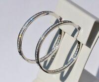 Echt 925 Sterling Silber Ohrringe Creolen Zirkonia crystal 30mm Nr 227-30